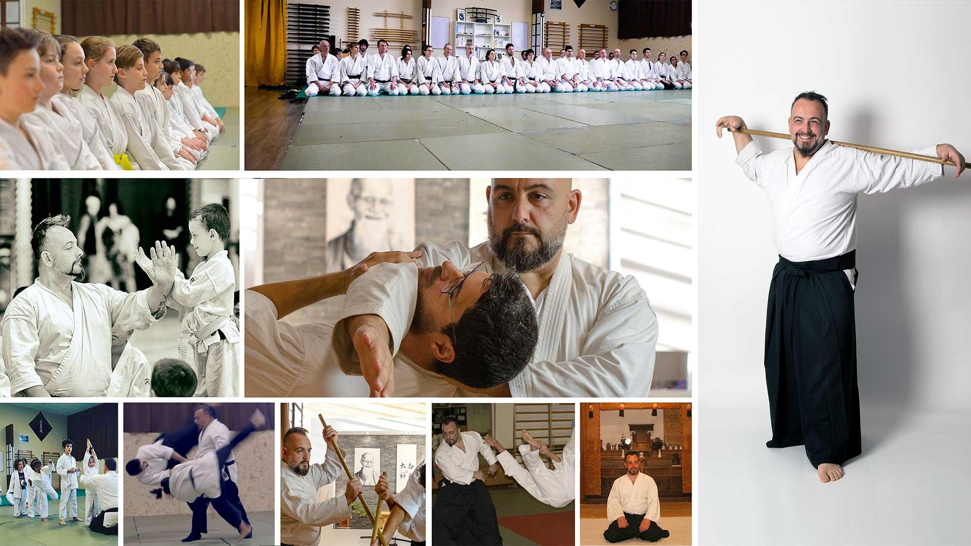Collage Foto Fabio Ramazzin mentre pratica aikido sia a corpo libero che con le armi spada e bastone di legno
