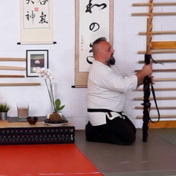 Fabio Ramazzin sacca di Aikido per le armi come posizionarla